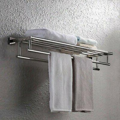 KES 30-Inch Rack Shelf Steel Double Towel Bar Dual...