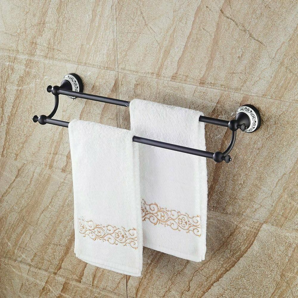 Bathroom Double Towel Rack Towel Brushed Bronze Mount