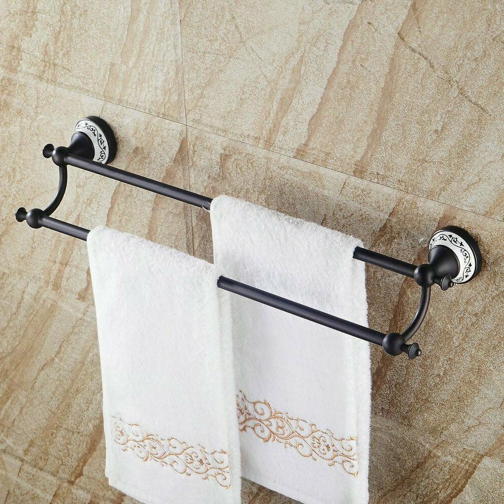 bathroom double towel bar rack brass towel