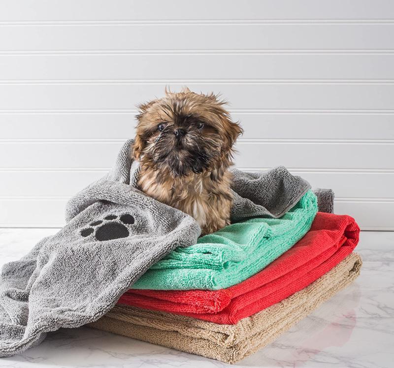 Dii Bone Pet Bath Towel Embroidered Paw Print, 44X27.5Quot;