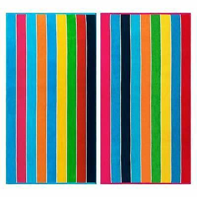 Superior Egyptian Cotton Rainbow Stripe Beach Towel (Set of