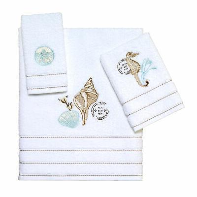 farmhouse shell 3 pc towel set white