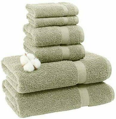 Luxury Green Bath Towel Set Hotel Cotton - 8 Piece