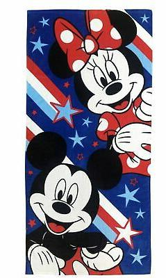 DISNEY MICKEY AND MINNIE MOUSE PATRIOTIC BEACH TOWEL NEW!