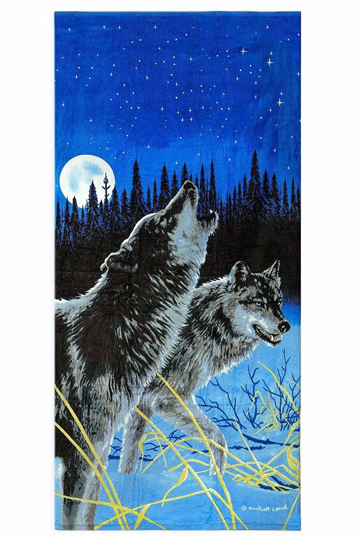 "Midnight Timberwolves Print Beach Towel 100% Cotton 28"" x 58"