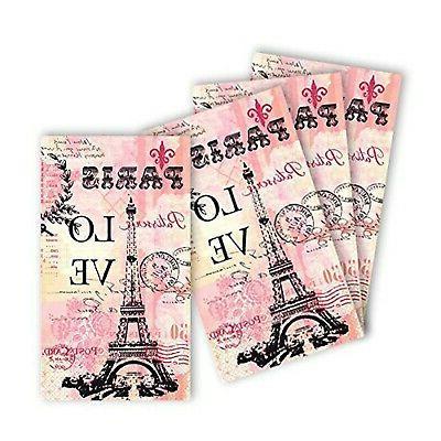 amscan Paris Love Paper Guest Ct. | Party Tableware, Multico...