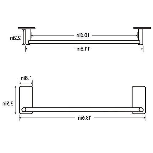 LuckIn 12 Bar Self Adhesive Rod, Stick on Hand Nickel, Steel Towel Holder Door Drill for Bathroom and TR0012SA