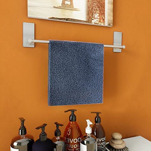 LuckIn Inch Bar Self Adhesive Rod, Stick on Wall Hand Nickel, Towel No Drill Hanging