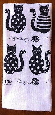 swedish hand towel dish towel black cats