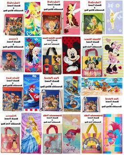 Licenced Kids Beach Towel & Bag Mickey, Frozen, Mario-Kart,