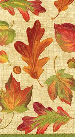 Entertaining with Caspari Linen Guest Towels, Leaves, Pack o