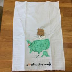 "Mud Pie Linen Tea Towel  ""HOME IS WHERE THE HEART IS"" USA M"