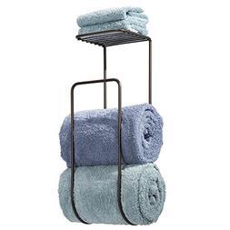 mDesign Wall Mount Towel Holder with Shelf for Bathroom - Br