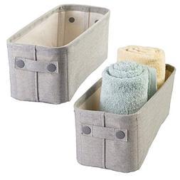 mDesign Soft Cotton Fabric Bathroom Storage Bin Basket with
