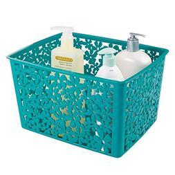 mDesign Floral Bathroom Vanity Organizer Bin for Health and