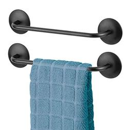 mDesign Decorative Metal Small Towel Bar - Strong Self Adhes