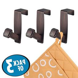 mDesign Decorative Over the Cabinet Metal Hooks for Kitchen