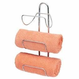 mDesign Metal 3-Tier Wall Mount Towel Rack Holder and Storage Organizer Chrome