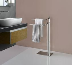 metal freestanding bathroom towel rack stand chrome