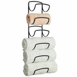 mDesign Metal Wall Mount Bathroom Towel Rack Holder, 6 Level