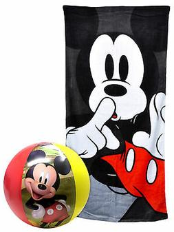 Disney Mickey Mouse Beach Pool Towel 58x28 & Beach Ball Set