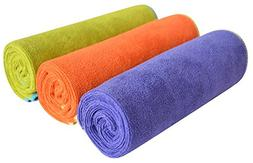 Sinland Microfiber Absorbent and Fast Drying Gym Towels 3 Pa