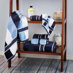 Navy and Powder Blue 6 Pc Velour Towel Set 100 % Percent Cot