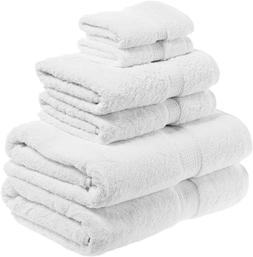 New Superior 900 Gram Egyptian Cotton 6 Piece Towel Set Whit