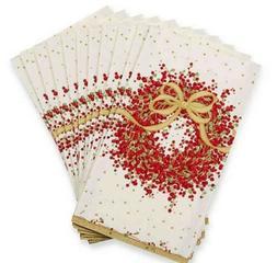 Caspari Paper Guest Towel Napkins, Pepperberry Berry Wreath