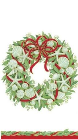 Caspari Paper Guest Towel Napkins, Seashell Wreath ~ package