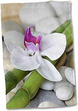 Pink Orchid Flowers and Beach Treasures Still Life Towel, 15