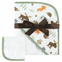 Hudson Baby Print Woven Hooded Towel and Washcloth Woodland