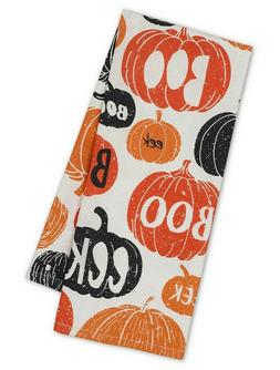 "Pumpkins Boo Printed Dish Towel New DII Halloween Cotton 18"""