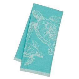 SEA TURTLES Jacquard Weave Aqua Cotton Kitchen Tea Towel