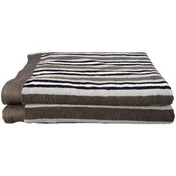 Set of 2 Superior Charcoal Striped Egyptian Cotton Loop Bath