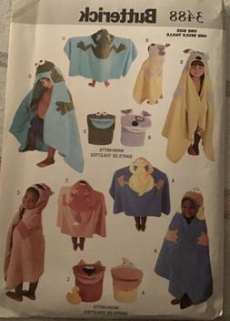 Butterick Sewing pattern 3488 Children's Hooded Animal Bath