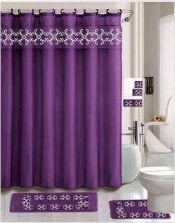 Simone Purple 18 Pieces Shower Curtain, 2 Rugs, 3 Piece Towe