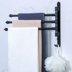 Wall-Mount Space Aluminum 3-Arm Swivel Bar Towel Rack Bath S