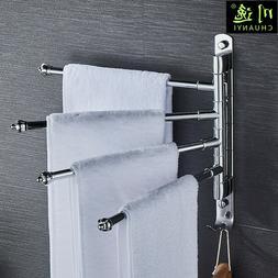 Swivel Towel Holder 4-Arm Swing Bar Wall Mount Rack Towel Ha