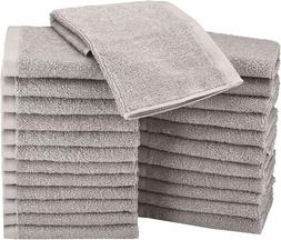 AmazonBasics Terry Cotton Washcloths Towel - Pack of 24, Gre