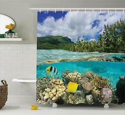 Tropical Shower Curtain Fabric Bathroom Decor Set with Hooks