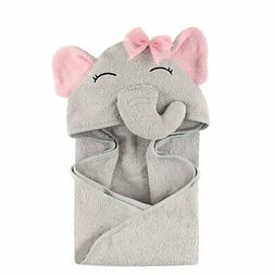 Hudson Baby Unisex Baby Animal Face Hooded Towel Pretty Elep