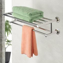 US Double Chrome Wall Mounted Bathroom Towel Rail Holder She