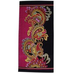 Karma Velour Towel - Black Paisley