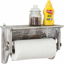 MyGift Wall-Mounted Torched Wood Paper Towel Holder with Dis