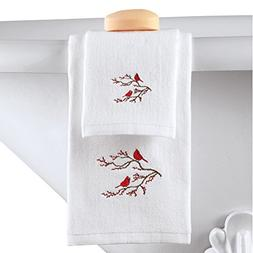 2pc Winter Cardinal Christmas Bathroom Towel Set, by Collect