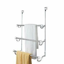 iDesign York Metal Over the Shower Door Towel Rack, Hooks fo
